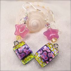 Fused dichroic earringsbright color by HanaSakuraDesigns on Etsy