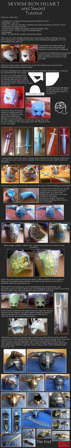 Iron Helmet and Sword cosplay tutorial by ~kovah on deviantART