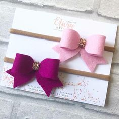 Two shades of lush pink felt bows perfect for and little girls x