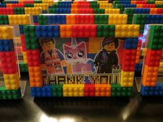 Made these for my son's upcoming Lego Movie B'day party.  They were really easy once I got it down and I love them!  Clear plastic frame from Michaels - $1.99 Bricks purchased from online brick people - my husband helped me with this, there are hundreds of sellers.  See bricklink.com.  Free printable thank you card also found online. Everything is awesome :-)