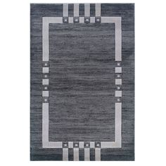 Linon Charcoal/ Ivory Border Area Rug (5' x 7'7) - Overstock™ Shopping - Great Deals on Linon 5x8 - 6x9 Rugs