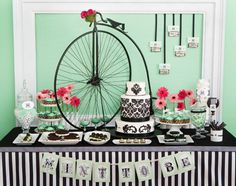 B&W damask and stripes.