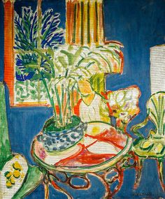 Henri Matisse - Small interior in Blue, 1947 at Staatsgalerie - Stuttgart Germany Henri Matisse, Matisse Kunst, Matisse Art, Art And Illustration, Pablo Picasso, Andy Warhol, Matisse Paintings, Post Impressionism, Famous Art