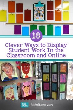 Want creative ways to show off what your class has been up to? Try these ingenious ideas to display student work in the classroom or online. #learningathome #virtuallearning #onlinelearning #elementaryschool #classroomsetup #classroom #classroomdecor Classroom Helpers, Classroom Setup, Classroom Design, Classroom Organization, Google Classroom, Future Classroom, Group Art Projects, School Projects, School Ideas