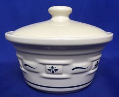 Longaberger Woven Traditions Butter Tub and Lid Blue Covered Bowl Pottery Crock #Longaberger #ButterTub