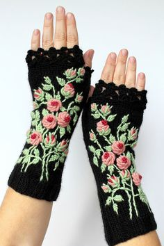 Knitted Fingerless Gloves, Black, Rose, Long, Clothing And Accessories,Gloves & Mittens, Gift Ideas, For Her, Accessories