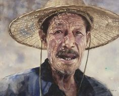 Guan Weixing. Techniques used: perhaps wax stick for light streaks in hat and on face? Wet in wet for skin tones. Wrinkles in two layers?