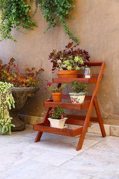 Amazon.com: Vifah V1512 Outdoor Wood Three-Layer Plant Stand, Teak: Patio, Lawn & Garden