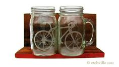 Bicycle mason jar mug with handle 1 glass by ETCHVILLE on Etsy, $16.00