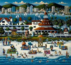 Dowdle Folk Art Puzzles are one of the most popular ways to enjoy Eric Dowdle's artwork. Enjoy it over and over again or mount it and frame it for a fun decoration. Puzzle is 500 pieces and is 16 x 20.The historical Hotel del Coronado takes center stage in this painting of scenic San Diego. Known as the most popular wedding destination in the United States, this beautiful resort has been attracting tourists since 1888. It is easy to see why San Diego is nicknamed America's finest city.