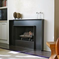Modern Fireplace Surrounds hot rolled steel fireplace surround | burn | pinterest | fireplace
