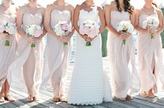 Blush Pink Strapless Bridesmaids Dresses | photography by www.erinmcginn.com