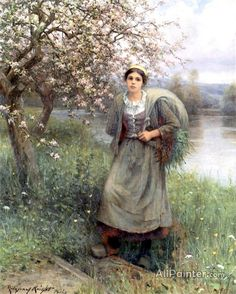 Daniel Ridgway Knight,Apple Blossoms In Normandy oil painting reproductions for sale