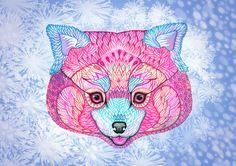 Winter Red Panda// SALE 3 for 2 // animal art print by TevaKiwi, $18.00