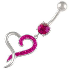 Lovely Heart Belly Ring with Fuchsia Swarovski Crystals #cutebellyring #sexylady #bellybuttonring