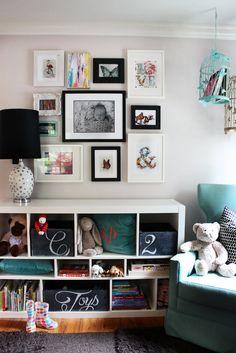 chalkboard boxes. aqua. black. gallery wall. polka dot lamp.  aqua birdcage. Like the whole thing.