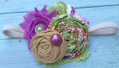 Purple, Green, Mustard Yellow, Rosette Fabric Flower Headband, Lavender Headband, Lime Green, Lace Flower, Hair Clip, Fabric Flower Brooch  on Etsy, $16.25