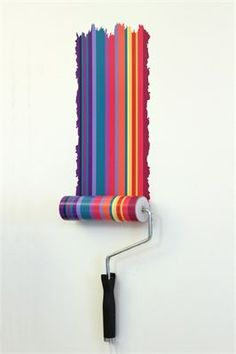 Paint roller wall lamp with matching paint stripe wall decal : Paint roller lamp, comes with interchangeable designs