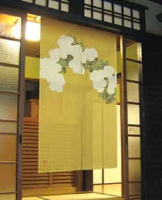 american homes don't have tokonoma, a Japanese curtain replaces the traditional scroll if displayed by doorway or window. Noren Curtain - Hand Dyed - Kamisaka Sekka Wood Block - Chrysanthemum;