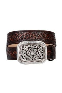 Explore the collection of fashion-forward western belts for women at Cavender's. Shop top women's leather belt brands like Ariat, Nocona and Blazin Roxx now. Real Leather Belt, Brown Leather Belt, Brown Belt, Leather Belts, Tooled Leather, Leather Buckle, Brown Brown, Cowgirl Belts, Western Belt Buckles