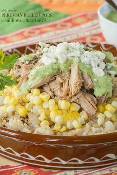 Healthy Recipes : Illustration Description Slow Cooker Peruvian Pulled Pork Cauliflower Rice Bowls – an easy crock pot recipe with tons of South American flavor. Slow Cooker Pork, Slow Cooker Recipes, Crockpot Recipes, Cauliflower Recipes, Cauliflower Rice, Cauli Rice, Good Healthy Recipes, Easy Dinner Recipes, Dinner Ideas