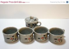 Lot of 5 Hand Painted Porcelain Ceramic Japanese Tea Coffee Cup Flowers Signed