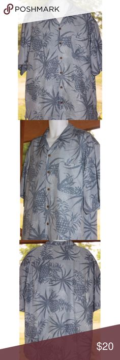 "TOMMY BAHAMA 100% Silk Wood Button Camp Shirt XL TOMMY BAHAMA 100% Silk Wood Button Camp Shirt XL Slate Blue Pineapple Palm   This shirt is in excellent, used condition. No holes, stains, tears or smelly things!  :)     Measurements are taken while the shirt is laying flat:  PIT to PIT:  26""  Length: 34""     Non-Smoking Home  Non-Pet Home  Please message me with any questions Tommy Bahama Shirts Casual Button Down Shirts"