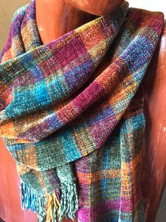 Hand Woven Chenille Plaid Jewel Toned Scarf by FitchStudioWeavers