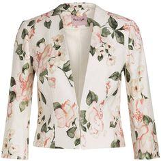 Jacquard-Blazer CAROLINA ($135) ❤ liked on Polyvore featuring outerwear, jackets, blazers, white jacket, jacquard jacket, white blazer and jacquard blazer