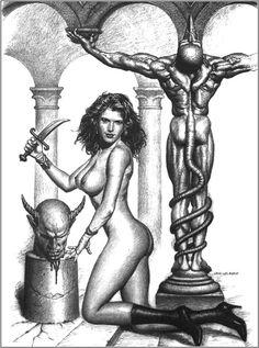 Jim Warren, John Howe, Comics Vintage, Marines, Fantasy Art, Statue, Blanco Y Negro, Illustrations, Artists