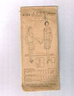 Vintage Pictorial Printed Patterns Dress Pattern No 4724 1930's Girl's Frock | eBay