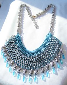 Statement Chainmaille & Bead Blue Necklace by Safrolistics on Etsy