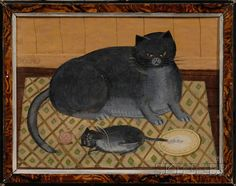 American School, 20th century naive oil painting of a gray cat and kitten on a patterned rug. Sold for $4,444 (Sale 2509, Lot 1250)
