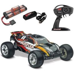 Traxxas Rustler XL-5 RTR Black Stadium Truck w/ ID Battery & 4 Amp DC Charger