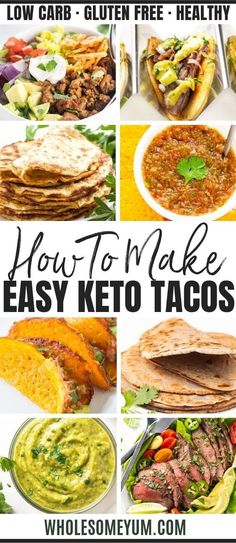Low Carb Keto Tacos: The Ultimate Guide - The ultimate guide to tacos on a keto diet, including a basic keto tacos recipe, dozens of other low carb taco recipes, soft or crispy keto taco shells, keto friendly taco fillings, and more! #wholesomeyum #keto #ketorecipes #ketotacos #tacos #tacosalad #mexicanfoodrecipes #mexicanfood #lowcarb #lowcarbrecipes Low Carb Dinner Recipes, Lunch Recipes, Real Food Recipes, Diet Recipes, Healthy Recipes, Keto Dinner, Healthy Foods, Dessert Recipes, Keto Foods