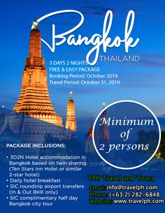 BANGKOK FREE & EASY (Land Arrangement Only) Minimum of 2 persons  For more inquiries please call: Landline: (+63 2)282-6848 Mobile: (+63) 918-238-9506 or Email us: info@travelph.com #Bangkok #Thailand #TravelPH #TravelWithNoWorries Hotel Breakfast, Bangkok Thailand, Travel Agency, Tours, Easy, Free