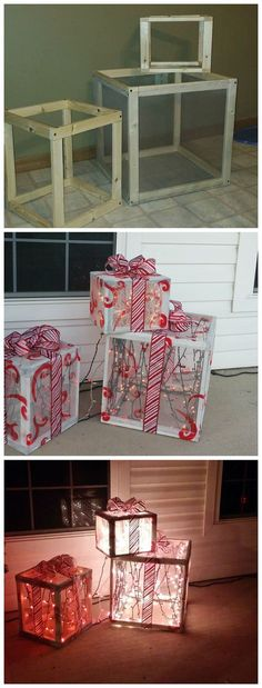DIY Wood lighted presents for the front porch on Christmas! Cute craft DIY Wood lighted presents for the front porch on Christmas! Diy Christmas Lights, Diy Christmas Decorations Easy, Christmas Porch, Noel Christmas, Christmas Projects, Winter Christmas, Holiday Crafts, Outdoor Christmas Presents, Diy Outdoor Christmas Decorations