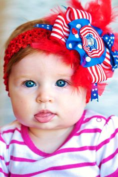 Big 4th of July Hair bow...Baby hairbow...hair bow for baby, toddler and big girls...patriotic hairbow...red, white, and blue...feather bow