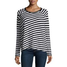 rag & bone/JEAN Camden Striped Long-Sleeve Tee ($125) ❤ liked on Polyvore featuring tops, t-shirts, black, long black t shirt, striped long sleeve t shirt, raglan tee, long sleeve pullover ve striped tee