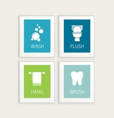 Kids' Bathroom Decor - Set of 4 Bathroom Prints- Wash, Flush, Hang, & Brush- Blue Green or Any Colors- Modern Bathroom Art- 5x7, 8x10, 11x14