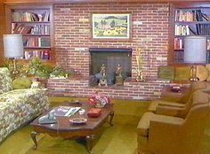 Bewitched Living Room - we had a fireplace/bookcase identical to this growing up - I didn't realize it was just like in Bewitched.  Cool!