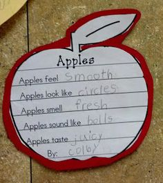 Denise - I thought of your Apple Day lesson when I saw this - 5 Senses Apple Poem apple = manzana Fall Preschool, Kindergarten Science, Kindergarten Classroom, Teaching Science, Science Activities, Classroom Activities, Preschool Apples, Science Education, Kindergarten Apples