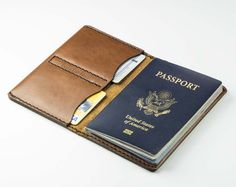 Leather Passport Cover - Free Inscription - Hand and Hide LLC  - 1