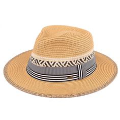 Summer Straw Panama Hat with Striped Pattern Band (ST-350)