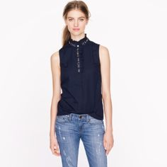 """J.CREW Ruffled Rhinestone Top A pretty pattern of faceted stones and beads at the collar of this crisp poplin top makes it an unexpected piece. Tailored fit. Cotton with a hint of stretch. Body length: 24 3/4"""". Beaded collar. COLOR: Navy J. Crew Tops"""
