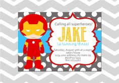 Iron Man Superhero Birthday Digital by ADashOfBeautiful on Etsy, $6.50