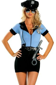 7 Piece Sexy Police Costume includes Zipper Front Mini Dress, Hat, Belt, Badge, Handcuffs, Walkie-Talkie, and Baton. Shown with RG101 Mirrored Sunglasses not included. Made in USA  Size: S/M-M/L Color: Light Blue/Navy
