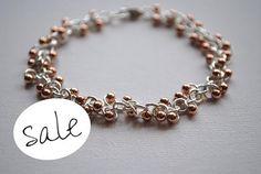 Sterling Silver Bracelet, Rose Gold Bracelet, Rose Gold Beads, Beaded Bracelet, Handmade, Lobster Clasp, Jewellery