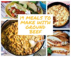 Ground beef is a kitchen staple, and these recipes each feature it. From Italian to Mexican and casseroles, each recipe uses ground beef as an ingredient. Spaghetti Pie Recipes, Best Spaghetti, Pasta Recipes, Cooking Recipes, Meals To Make With Ground Beef, Ground Beef Recipes, Mexican Cornbread Casserole, Potato Casserole, Quick Casseroles