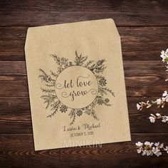 Let Love Grow Seed Packets, Personalized Wedding,  Boho Wedding,  Envelopes, Seed Packet Favors, Rustic, Wildflowers, Wedding Favors x 25